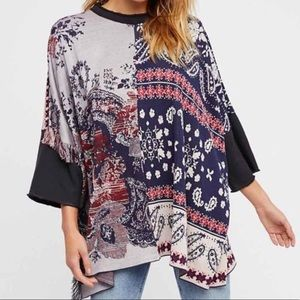 Free People Pieced Paisley Tunic XS/S Oversize Top